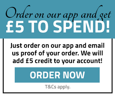 Get £5 to spend when you order on our app!